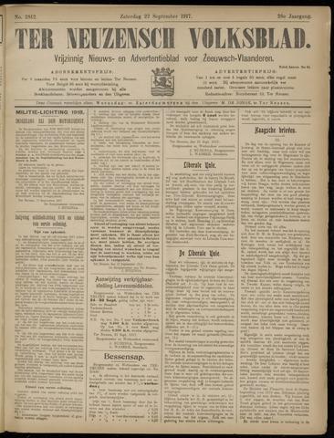 Ter Neuzensch Volksblad. Vrijzinnig nieuws- en advertentieblad voor Zeeuwsch- Vlaanderen / Zeeuwsch Nieuwsblad. Nieuws- en advertentieblad voor Zeeland 1917-09-22