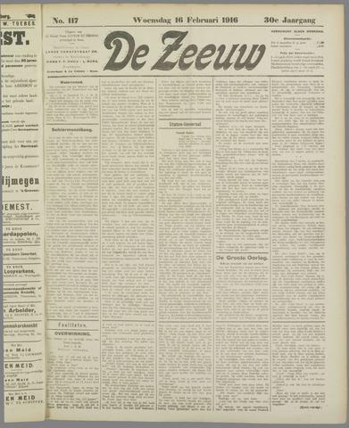 De Zeeuw. Christelijk-historisch nieuwsblad voor Zeeland 1916-02-16