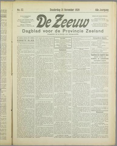 De Zeeuw. Christelijk-historisch nieuwsblad voor Zeeland 1929-11-21