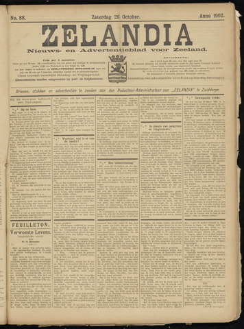 Zelandia. Nieuws-en advertentieblad voor Zeeland | edities: Het Land van Hulst en De Vier Ambachten 1902-10-25