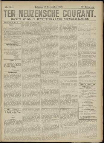 Ter Neuzensche Courant. Algemeen Nieuws- en Advertentieblad voor Zeeuwsch-Vlaanderen / Neuzensche Courant ... (idem) / (Algemeen) nieuws en advertentieblad voor Zeeuwsch-Vlaanderen 1920-09-18