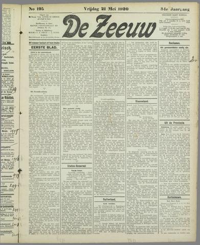 De Zeeuw. Christelijk-historisch nieuwsblad voor Zeeland 1920-05-21
