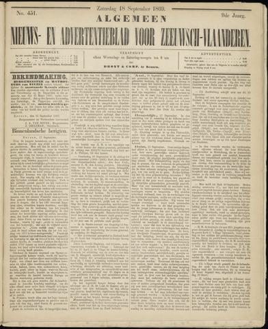 Ter Neuzensche Courant. Algemeen Nieuws- en Advertentieblad voor Zeeuwsch-Vlaanderen / Neuzensche Courant ... (idem) / (Algemeen) nieuws en advertentieblad voor Zeeuwsch-Vlaanderen 1869-09-18