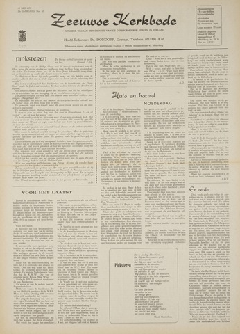 Zeeuwsche kerkbode, weekblad gewijd aan de belangen der gereformeerde kerken/ Zeeuwsch kerkblad 1970-05-14