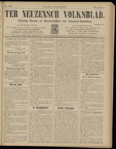 Ter Neuzensch Volksblad. Vrijzinnig nieuws- en advertentieblad voor Zeeuwsch- Vlaanderen / Zeeuwsch Nieuwsblad. Nieuws- en advertentieblad voor Zeeland 1915-11-03