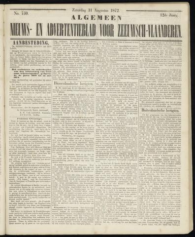 Ter Neuzensche Courant. Algemeen Nieuws- en Advertentieblad voor Zeeuwsch-Vlaanderen / Neuzensche Courant ... (idem) / (Algemeen) nieuws en advertentieblad voor Zeeuwsch-Vlaanderen 1872-08-31