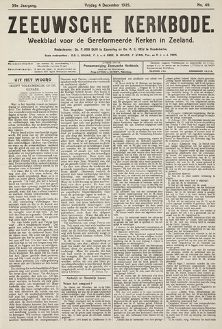 Zeeuwsche kerkbode, weekblad gewijd aan de belangen der gereformeerde kerken/ Zeeuwsch kerkblad 1925-12-04