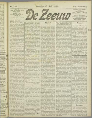 De Zeeuw. Christelijk-historisch nieuwsblad voor Zeeland 1920-07-27