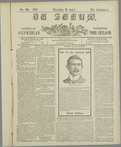 De Zeeuw. Christelijk-historisch nieuwsblad voor Zeeland 1912-04-16