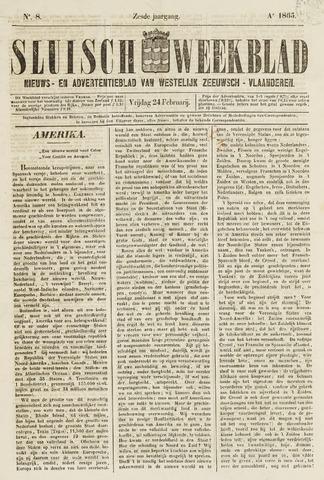 Sluisch Weekblad. Nieuws- en advertentieblad voor Westelijk Zeeuwsch-Vlaanderen 1865-02-24