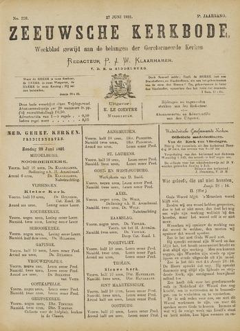 Zeeuwsche kerkbode, weekblad gewijd aan de belangen der gereformeerde kerken/ Zeeuwsch kerkblad 1891-06-27