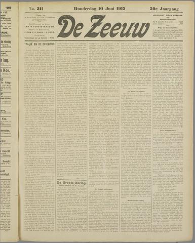 De Zeeuw. Christelijk-historisch nieuwsblad voor Zeeland 1915-06-10