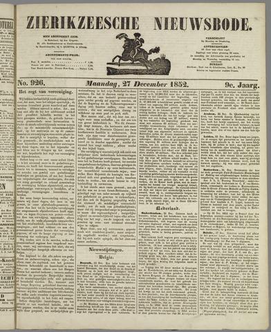 Zierikzeesche Nieuwsbode 1852-12-27