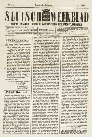 Sluisch Weekblad. Nieuws- en advertentieblad voor Westelijk Zeeuwsch-Vlaanderen 1873-04-22
