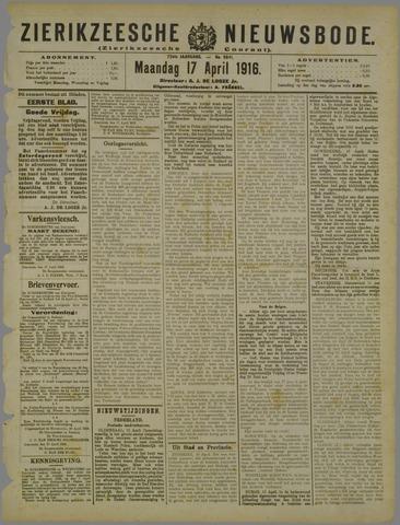 Zierikzeesche Nieuwsbode 1916-04-17