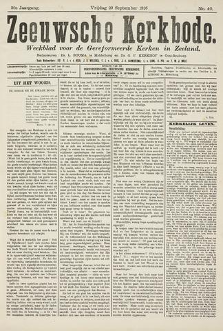 Zeeuwsche kerkbode, weekblad gewijd aan de belangen der gereformeerde kerken/ Zeeuwsch kerkblad 1916-09-29
