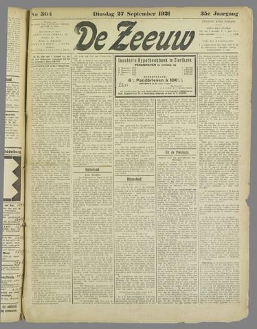 De Zeeuw. Christelijk-historisch nieuwsblad voor Zeeland 1921-09-27