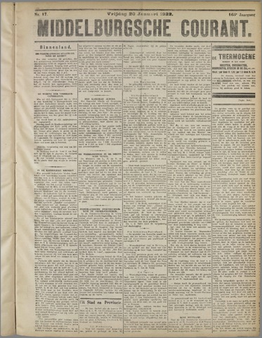 Middelburgsche Courant 1922-01-20