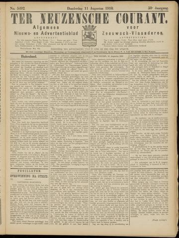 Ter Neuzensche Courant. Algemeen Nieuws- en Advertentieblad voor Zeeuwsch-Vlaanderen / Neuzensche Courant ... (idem) / (Algemeen) nieuws en advertentieblad voor Zeeuwsch-Vlaanderen 1910-08-11