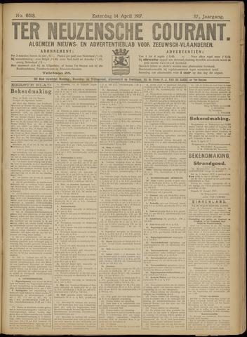 Ter Neuzensche Courant. Algemeen Nieuws- en Advertentieblad voor Zeeuwsch-Vlaanderen / Neuzensche Courant ... (idem) / (Algemeen) nieuws en advertentieblad voor Zeeuwsch-Vlaanderen 1917-04-14