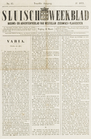 Sluisch Weekblad. Nieuws- en advertentieblad voor Westelijk Zeeuwsch-Vlaanderen 1871-03-03