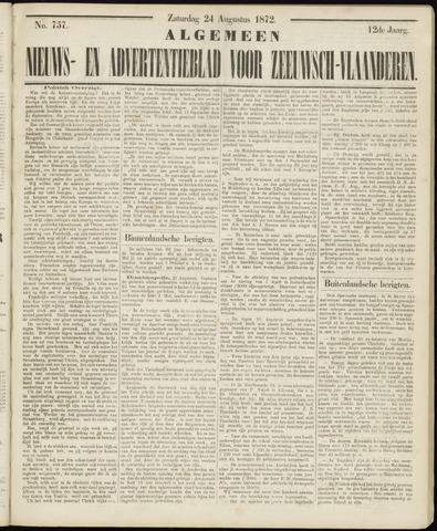 Ter Neuzensche Courant. Algemeen Nieuws- en Advertentieblad voor Zeeuwsch-Vlaanderen / Neuzensche Courant ... (idem) / (Algemeen) nieuws en advertentieblad voor Zeeuwsch-Vlaanderen 1872-08-24