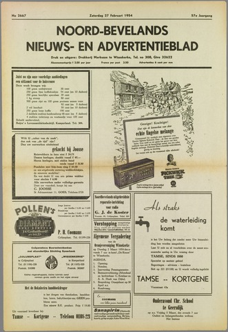 Noord-Bevelands Nieuws- en advertentieblad 1954-02-27