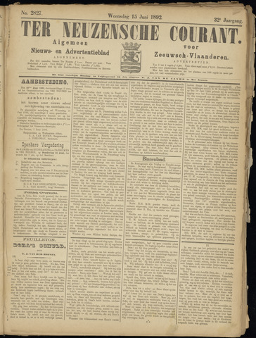 Ter Neuzensche Courant. Algemeen Nieuws- en Advertentieblad voor Zeeuwsch-Vlaanderen / Neuzensche Courant ... (idem) / (Algemeen) nieuws en advertentieblad voor Zeeuwsch-Vlaanderen 1892-06-15