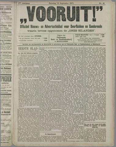 """""""Vooruit!""""Officieel Nieuws- en Advertentieblad voor Overflakkee en Goedereede 1917-09-15"""
