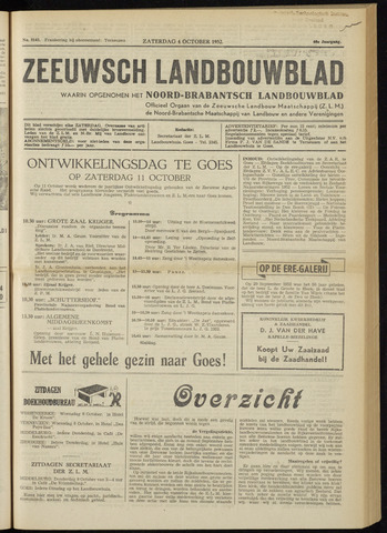 Zeeuwsch landbouwblad ... ZLM land- en tuinbouwblad 1952-10-04