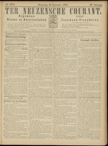 Ter Neuzensche Courant. Algemeen Nieuws- en Advertentieblad voor Zeeuwsch-Vlaanderen / Neuzensche Courant ... (idem) / (Algemeen) nieuws en advertentieblad voor Zeeuwsch-Vlaanderen 1912-09-26