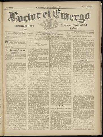 Luctor et Emergo. Antirevolutionair nieuws- en advertentieblad voor Zeeland / Zeeuwsch-Vlaanderen. Orgaan ter verspreiding van de christelijke beginselen in Zeeuwsch-Vlaanderen 1916-09-13