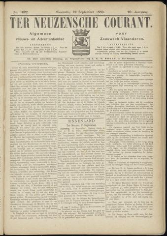 Ter Neuzensche Courant. Algemeen Nieuws- en Advertentieblad voor Zeeuwsch-Vlaanderen / Neuzensche Courant ... (idem) / (Algemeen) nieuws en advertentieblad voor Zeeuwsch-Vlaanderen 1880-09-22