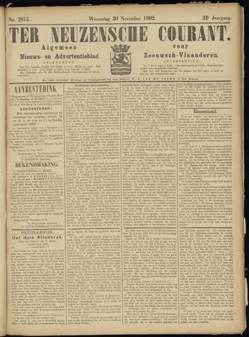 Ter Neuzensche Courant. Algemeen Nieuws- en Advertentieblad voor Zeeuwsch-Vlaanderen / Neuzensche Courant ... (idem) / (Algemeen) nieuws en advertentieblad voor Zeeuwsch-Vlaanderen 1892-11-30