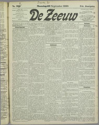 De Zeeuw. Christelijk-historisch nieuwsblad voor Zeeland 1920-09-21
