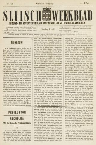 Sluisch Weekblad. Nieuws- en advertentieblad voor Westelijk Zeeuwsch-Vlaanderen 1874-07-07