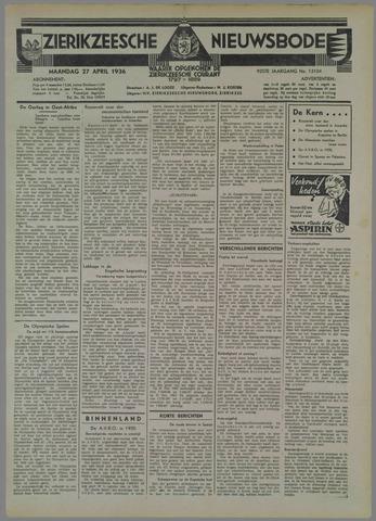 Zierikzeesche Nieuwsbode 1936-04-27