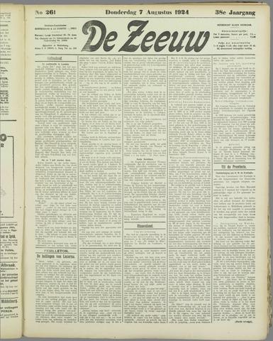 De Zeeuw. Christelijk-historisch nieuwsblad voor Zeeland 1924-08-07