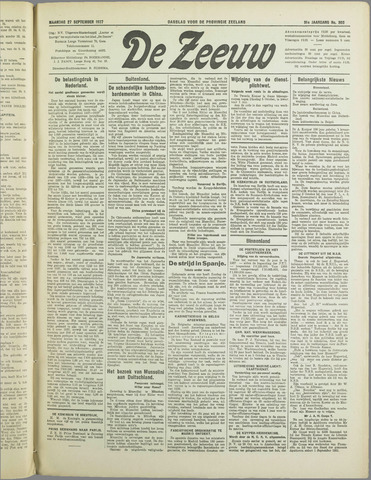 De Zeeuw. Christelijk-historisch nieuwsblad voor Zeeland 1937-09-27