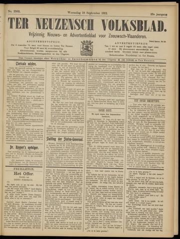 Ter Neuzensch Volksblad. Vrijzinnig nieuws- en advertentieblad voor Zeeuwsch- Vlaanderen / Zeeuwsch Nieuwsblad. Nieuws- en advertentieblad voor Zeeland 1912-09-18