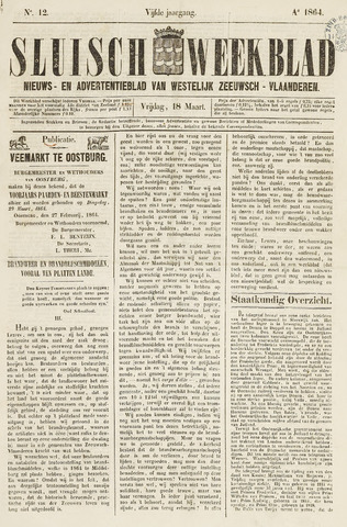 Sluisch Weekblad. Nieuws- en advertentieblad voor Westelijk Zeeuwsch-Vlaanderen 1864-03-18