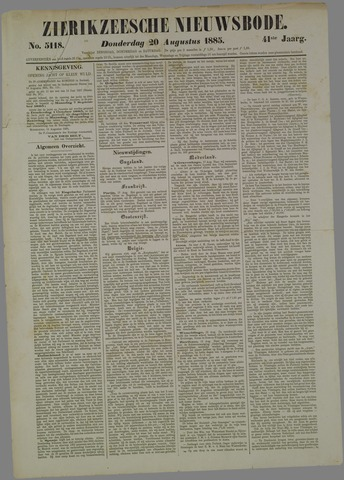 Zierikzeesche Nieuwsbode 1885-08-20