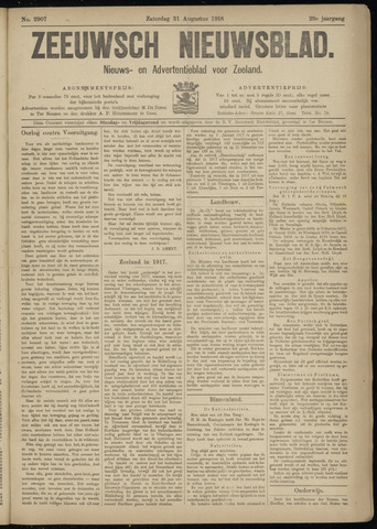 Ter Neuzensch Volksblad. Vrijzinnig nieuws- en advertentieblad voor Zeeuwsch- Vlaanderen / Zeeuwsch Nieuwsblad. Nieuws- en advertentieblad voor Zeeland 1918-08-31
