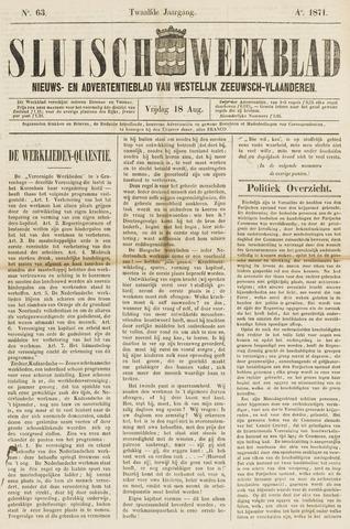 Sluisch Weekblad. Nieuws- en advertentieblad voor Westelijk Zeeuwsch-Vlaanderen 1871-08-18