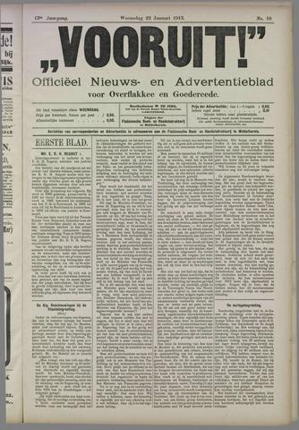 """""""Vooruit!""""Officieel Nieuws- en Advertentieblad voor Overflakkee en Goedereede 1913-01-22"""