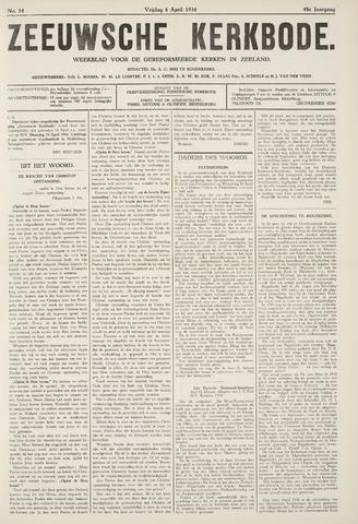 Zeeuwsche kerkbode, weekblad gewijd aan de belangen der gereformeerde kerken/ Zeeuwsch kerkblad 1934-04-06