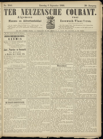 Ter Neuzensche Courant. Algemeen Nieuws- en Advertentieblad voor Zeeuwsch-Vlaanderen / Neuzensche Courant ... (idem) / (Algemeen) nieuws en advertentieblad voor Zeeuwsch-Vlaanderen 1890-09-06