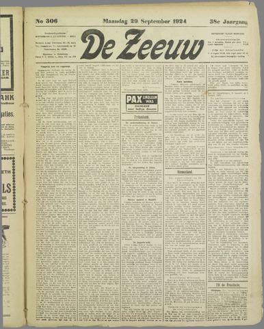 De Zeeuw. Christelijk-historisch nieuwsblad voor Zeeland 1924-09-29