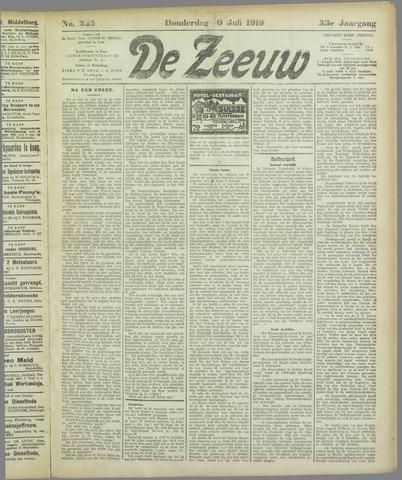 De Zeeuw. Christelijk-historisch nieuwsblad voor Zeeland 1919-07-10
