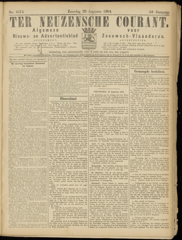 Ter Neuzensche Courant. Algemeen Nieuws- en Advertentieblad voor Zeeuwsch-Vlaanderen / Neuzensche Courant ... (idem) / (Algemeen) nieuws en advertentieblad voor Zeeuwsch-Vlaanderen 1904-08-20